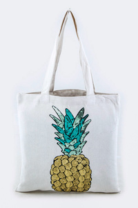 Sequins Pineapple Canvas Tote