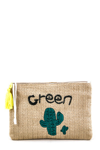 Cactus Embroidery Straw Clutch