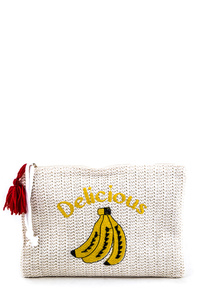 Banana Embroidery Straw Pouch