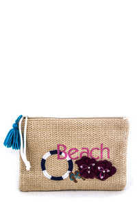Beach Embroidery Floral Straw Pouch