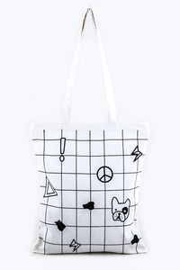 Checker Print Canvas Zip Up Tote