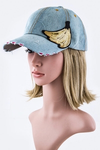 Sequins Banana Fashion Denim Cap