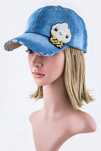 Sequins Soft Cream Fashion Cap