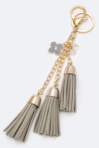 Small Triple Tassels Handbag Accesories Or Key Chain Holder