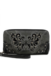 Western Cowgirl Rhinestone Embelished Accented Wallet With Wrist Strap