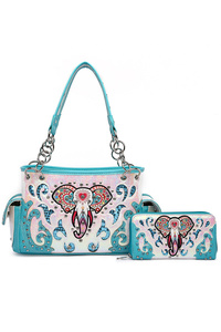 Western Cowgirl Hologram Engraved Satchel And Wallet Two in One
