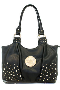 Center Logo Accent Rhinestones Deco Hobo Bag