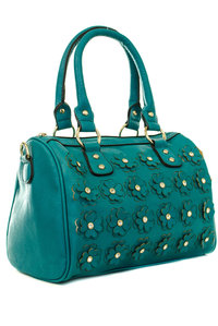 Small Flowers Rhinestones Design with Shoulder Strap Satchel Bag