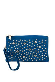 Rhinestone Accented Messenger Bag With Shoulder And Wrist Strap