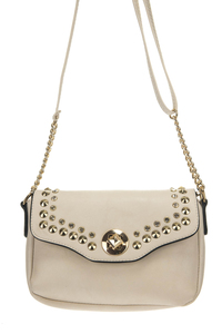Flap Over Turn Lock Rhinestone And Studs Accented Messenger Bag