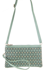 Solid Laser Cut And Rhinestones Accented Messenger Bag With Wrist Strap