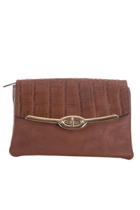 Flap Over Turn Lock Clutch Bag With Wrist Strap