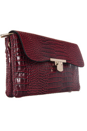 Crocodile Flap Over Accented Cross Body Messenger Bag