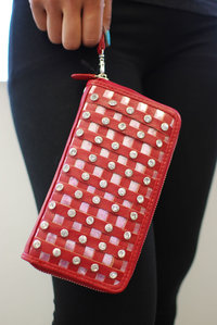 Rhinestones Deco Wallet with Wrist Strap