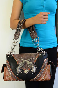 Western Style Gun Deco One Front and Two Side Pocket Satchel Bag