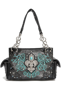 Restocked Western Cowgirl Fleur De Lis And Rhinestone Accented Satchel Bag