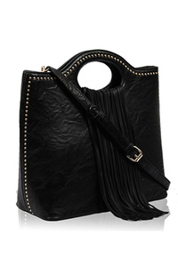 Solid Tassel And Firm Handles Tote Bag With Strap
