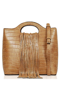 Solid Crocodile Fringe Single Handle Satchel Bag With Strap