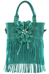 Center Flower Long Front Fringe Hobo Bag with Shoulder Strap