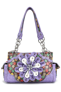 Western Cowgirl Multi Colors Polka Dot Print Center Flower Design Two Side Pocket Satchel Bag