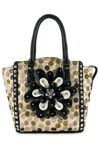 Western Cowgirl Multi Colors Polka Dot Print Center Flower Design Bucket Tote Bag