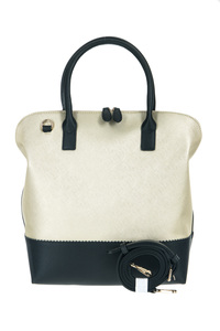 Two Tone Metallic And Solid Combined Tote Top Handle Bag With Strap