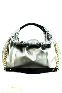 Round Shape Metallic Fabric Accented Satchel Bag With Strap