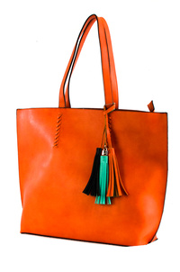 Solid Large Tote With Colorful Tassels Double Slim Handle Bag