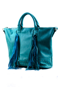 Solid Fringe And Studs Accented Top Handle Tote Bag With Strap