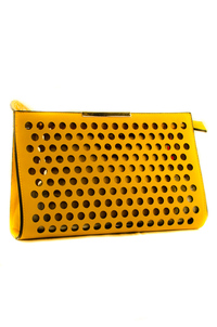 Laser Cut Two In One Clutch With Wrist And Chain Strap