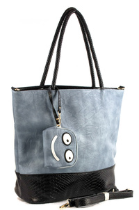 Two Tone With Emoji Top Handle Tote Bag