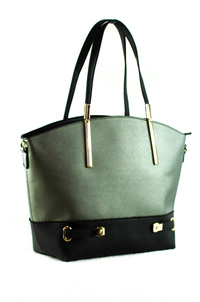 Two Tone And Belt Accented Slim Handle Satchel Bag With Strap