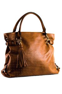 Solid All Over Studs And Tassels Tote Double Handle Bag