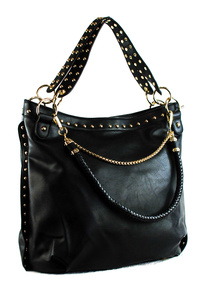 Solid Studs And Triple Handles Tote Bag With Strap
