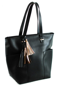 Solid Tassels With Front Pockets Tote Bag With Handles