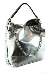 Solid Chain And Single Handle Side Studs Accented Hobo Bag