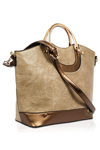 Solid Metal Handle Tote Bag With Strap