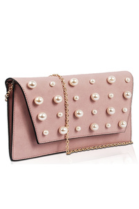Solid Big And Small Pearl Flap Over Clutch With Chain Strap