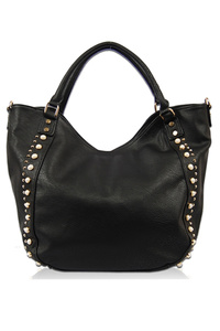 Solid Pearls And Studs Accented Hobo Bag