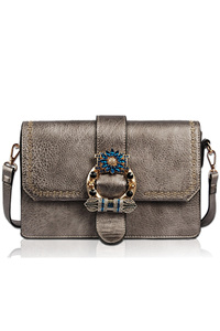 Solid Colorful Stones And Metal Flap Over Messenger Bag