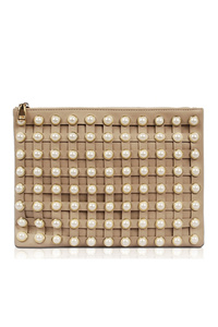 Solid Pearl Accented Clutch With Chain Strap