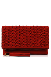 Solid And Textured With Tassels Flap Over Clutch