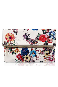 All Over Flower Printed Flap Over Clutch With Chain