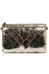Solid Metallic Fabric Zipper Top Clutch With Strap