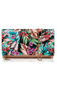 Tropical Leaves Printed Flap Over Clutch With Chain Strap