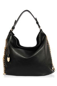 Solid Chain Edged Hobo Bag With Shoulder Strap