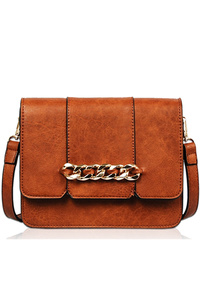 Solid Chain Centered Flap Over Messenger Bag