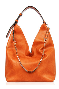 Solid Long Chain Accented Hobo Bag