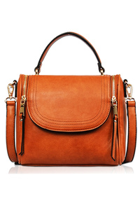 Solid Double Zipper Front Open Satchel Cross Body Bag