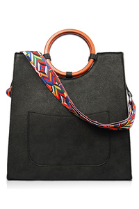 Solid Wooden Handle And Color Braided Strap Tote Bag
